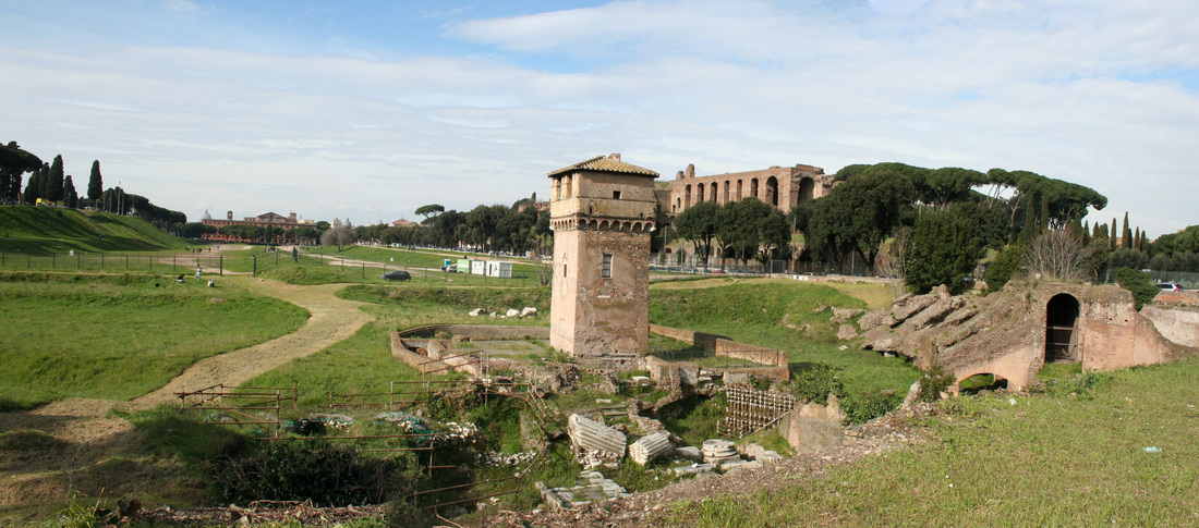the remains of circus maximus Not much remains of the circus maximus except for the ancient track now  covered with grass some gates used for starting the races still remain although  the.